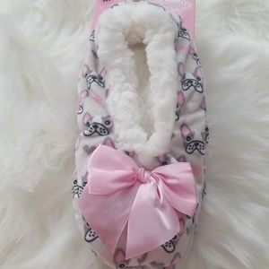 Gray dog slippers